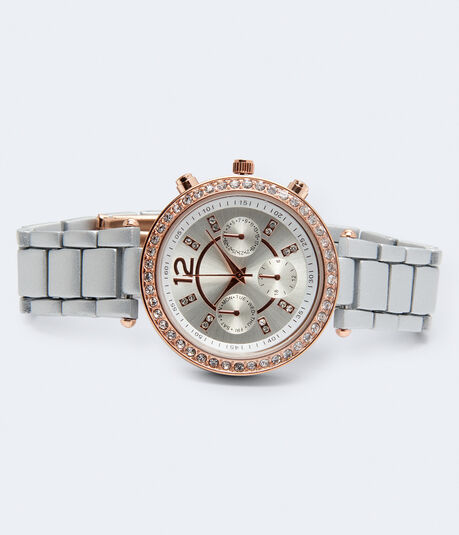 Metal Rhinestone Chrono Analog Watch