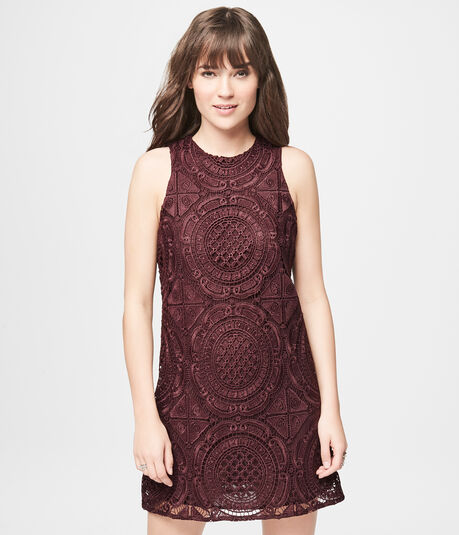 Solid High-Neck Lace Shift Dress