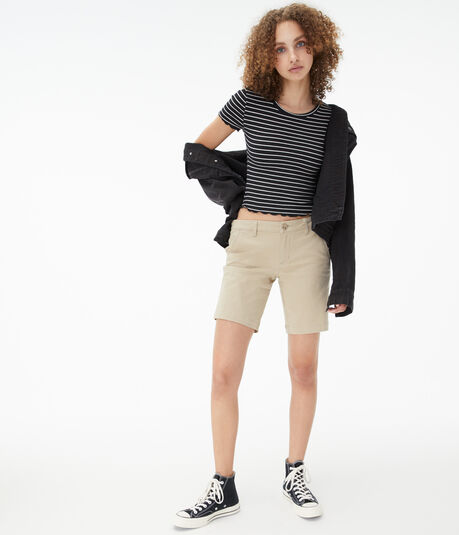Solid Bermuda Uniform Shorts***