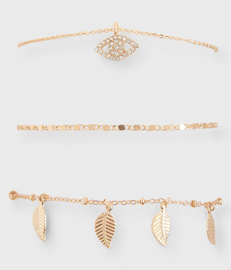 Metal Leaf Bracelet 3-Pack