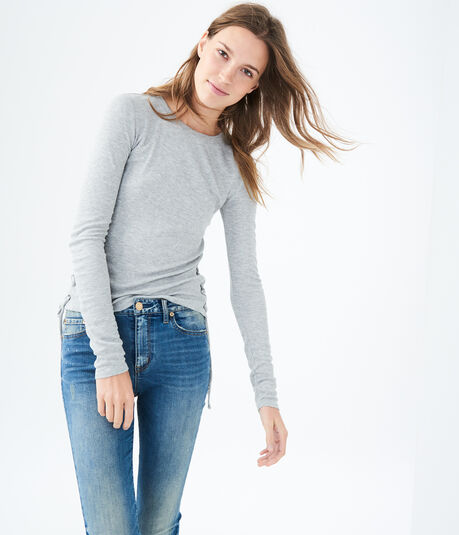Long Sleeve Side Lace-Up Ribbed Tee