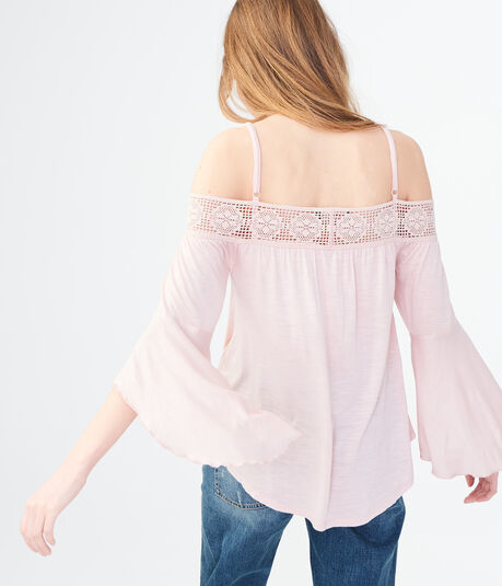 Long Sleeve Solid Crochet Cold-Shoulder Top