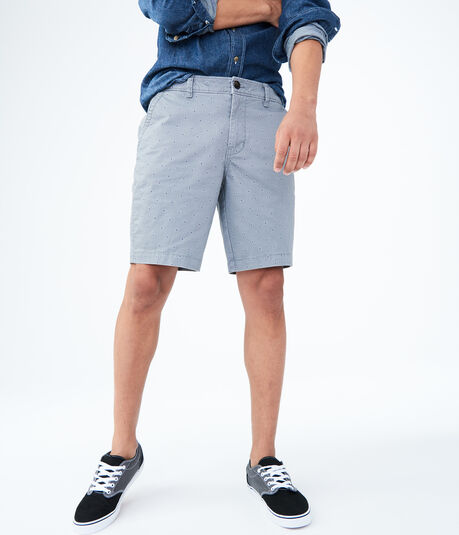 Geo Print Stretch Flat-Front Chino Shorts
