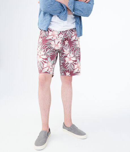Hibiscus Stretch Flat-Front Chino Shorts