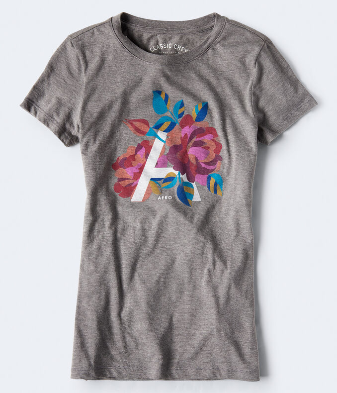 """Floral """"A"""" Graphic Tee"""