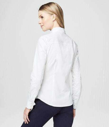 Long Sleeve Solid Woven Shirt***