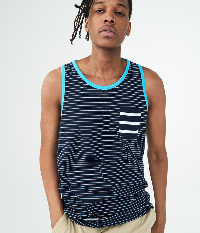 Nautical Stripe Pocket Tank