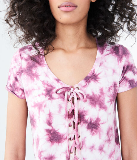 Seriously Soft Tie-Dye Lace-Up Girl Tee