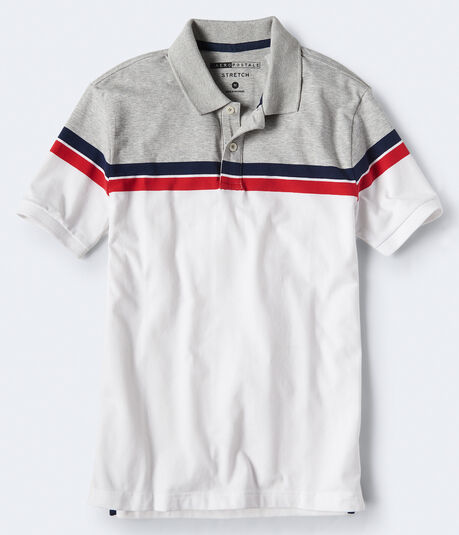 Chest Stripe Stretch Jersey Polo
