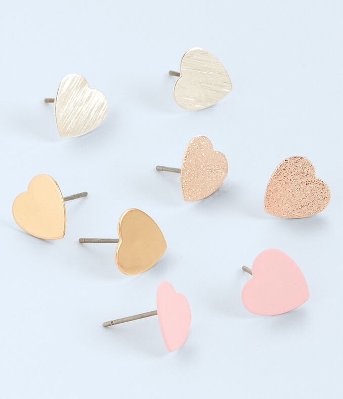 Mixed Hearts Stud Earring 4-Pack