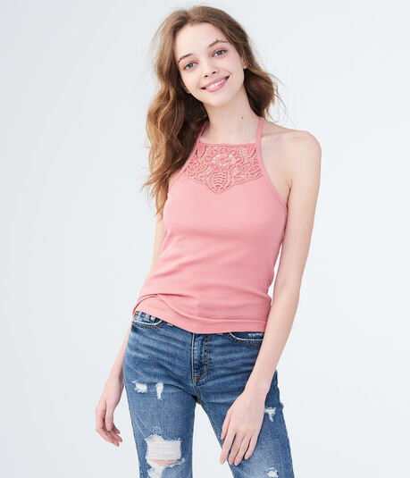 Lace-Front Ribbed Cami
