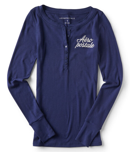 Final Sale -Long Sleeve Aeropostale Henley Top