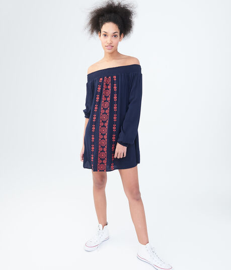 Long Sleeve Embroidered Off-The-Shoulder Shift Dress