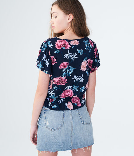 Floral Button-Front Peplum Top