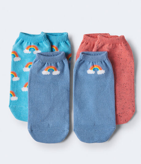 3-Pack Rainbow, Spotty & Solid Ankle Socks
