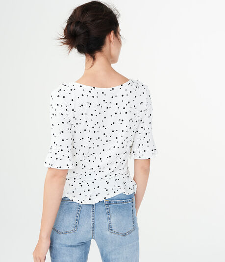 Dotted Ruched Peplum Top