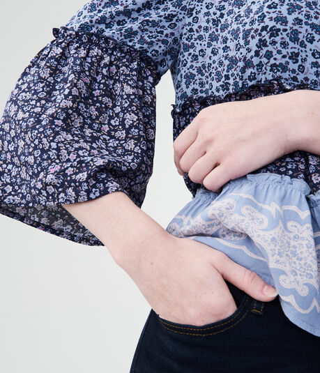 Floral Off-The-Shoulder Woven Top