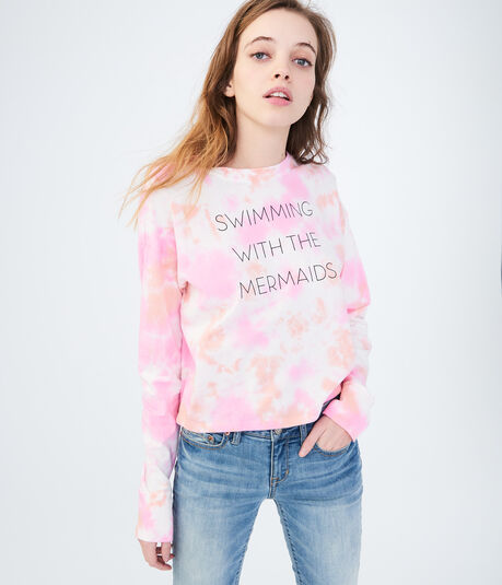 Long Sleeve Mermaids Tie-Dye Graphic Tee