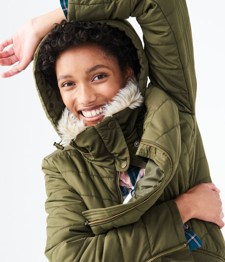 Final Sale -Solid Hooded Puffer Jacket