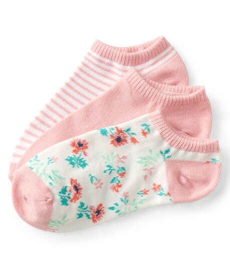 3-Pack Solid, Striped and Floral Ankle Socks
