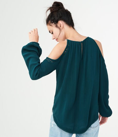 Long Sleeve Lace-Trim Cold-Shoulder Top