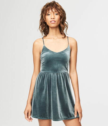 Solid V-Neck Velvet Fit & Flare Dress