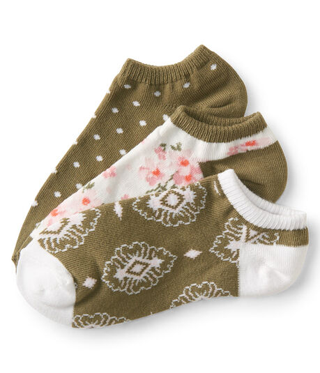 3-Pack Floral And Dot Ankle Socks