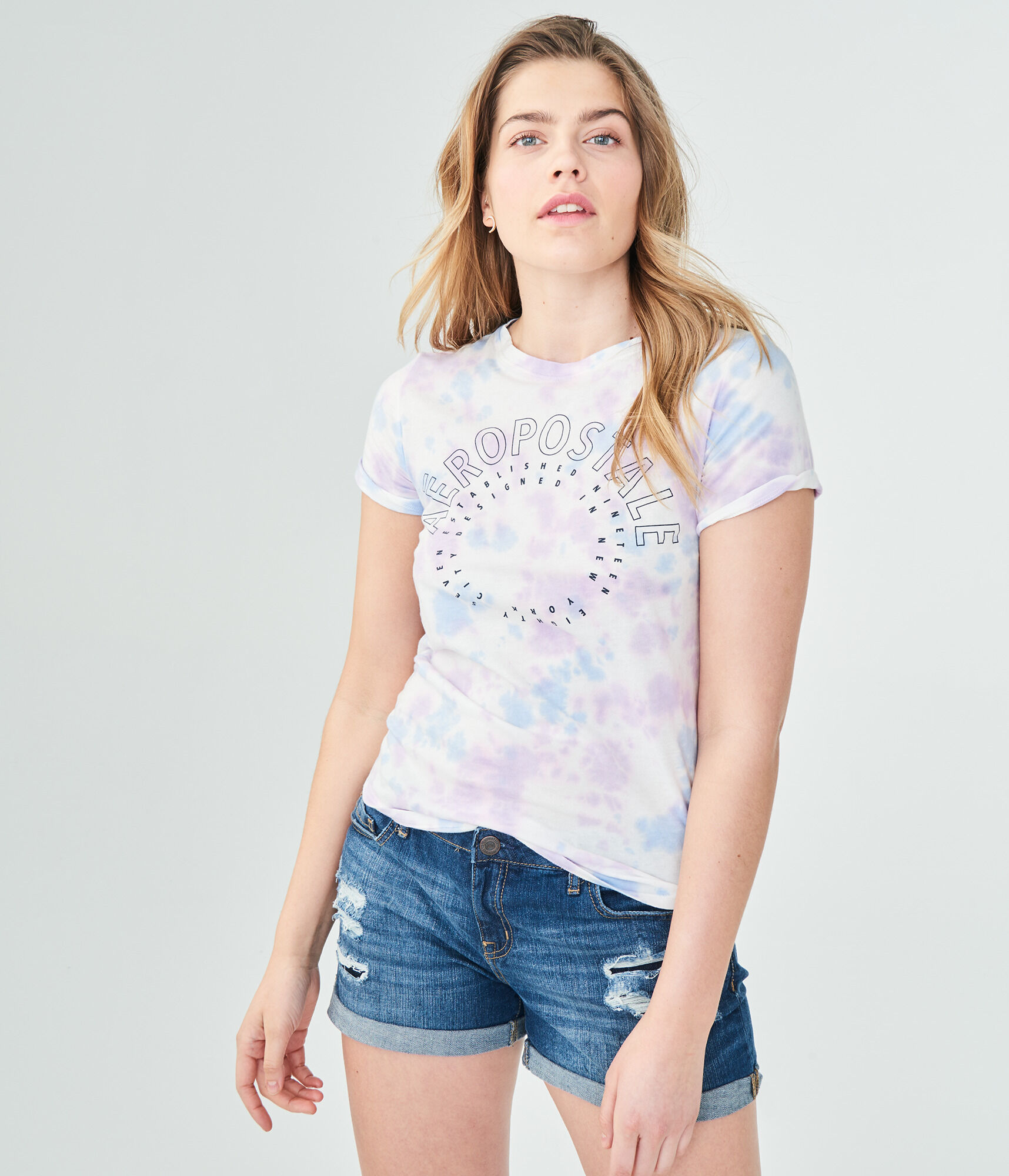 ... Aeropostale Circle Tie-Dye Relaxed Graphic Tee
