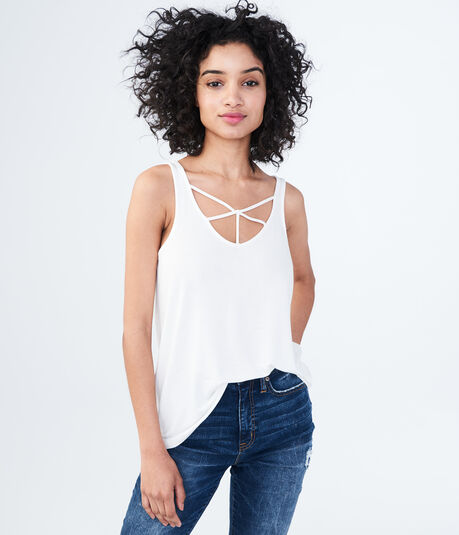 Solid Strappy High-Low Tank