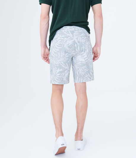 Palm Leaf Stretch Flat-Front Chino Shorts