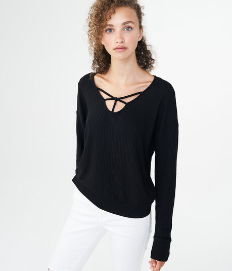 Long Sleeve Crisscross-Front Top