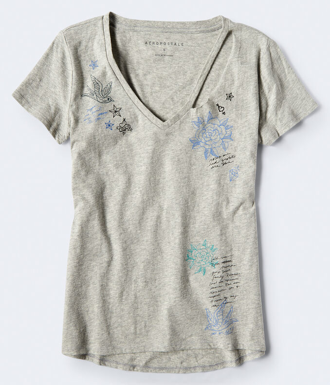 Slash V-Neck Graphic Tee