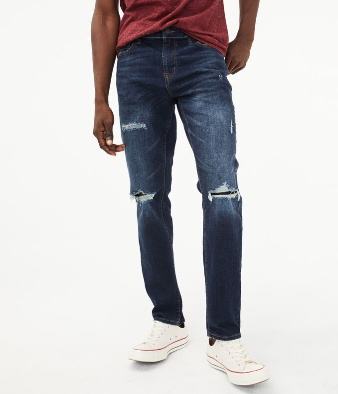 Skinny Dark Wash Destroyed Stretch Jean | Tuggl