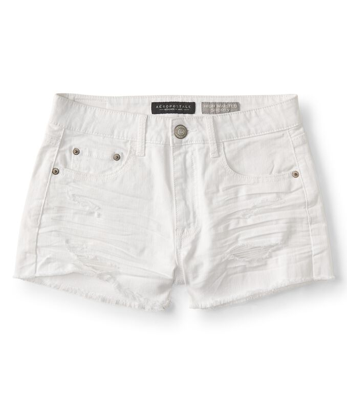 Seriously Stretchy High-Waisted Color Wash Denim Shorty Shorts