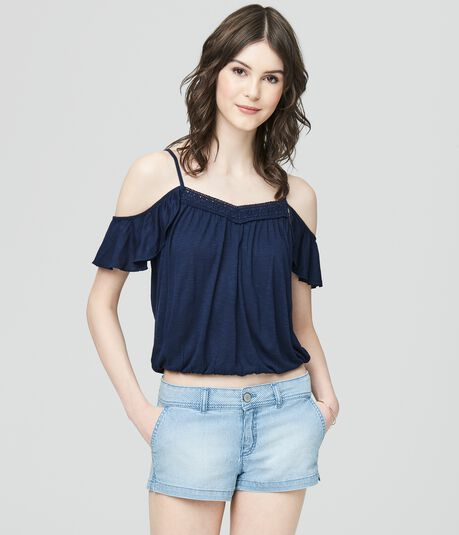 Cape Juby Ruffled Cold Shoulder Top
