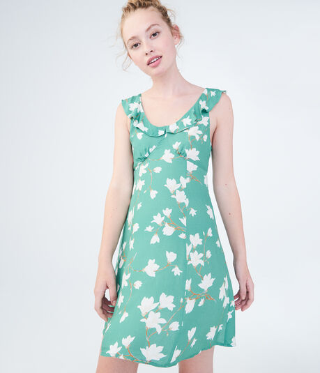 Floral Scoop-Neck Fit & Flare Dress