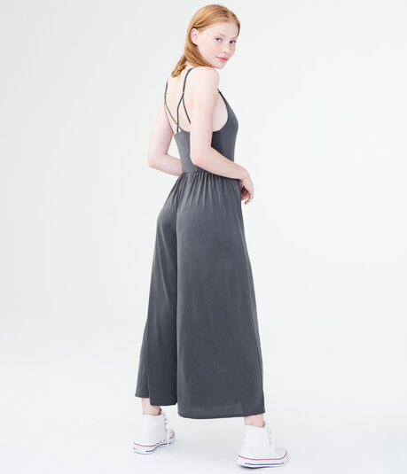Solid V-Neck Sandwashed Jumpsuit