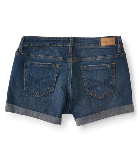 Medium Wash Cuffed Denim Midi Shorts