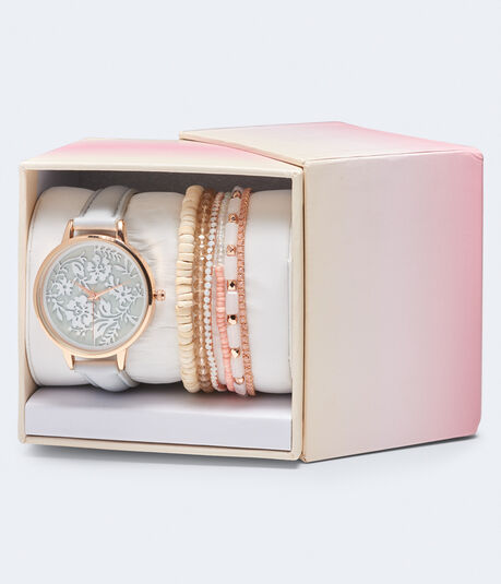 Faux Leather Lacy Analog Watch & Bracelet Set