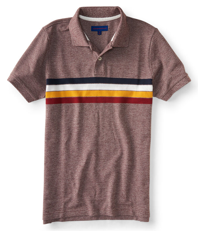Striped Marled Pique; Polo