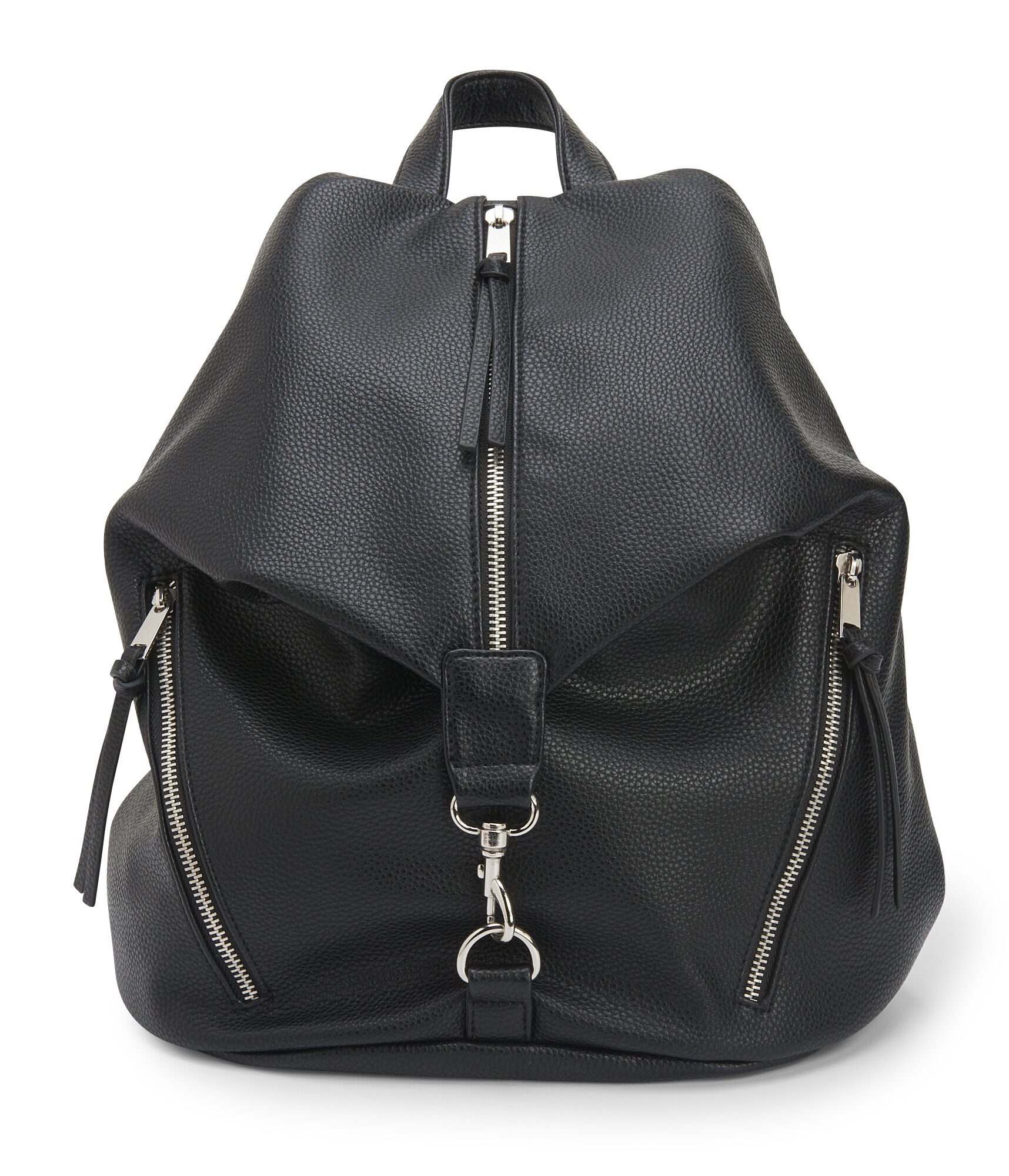 Black faux leather backpack QEGvhj