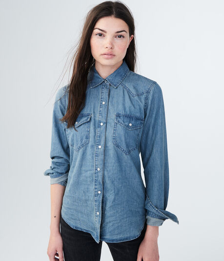 Long Sleeve Chambray Western Woven Shirt
