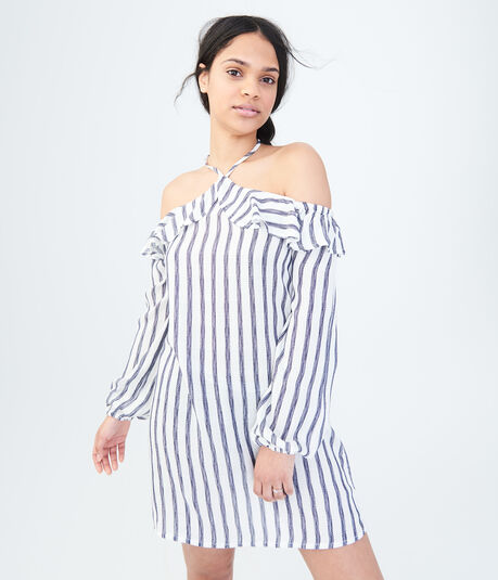 Long Sleeve Striped Halter Shift Dress