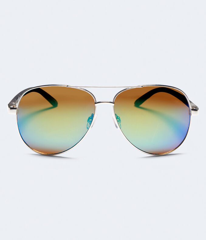 Mirrored Lens Aviator Sunglasses
