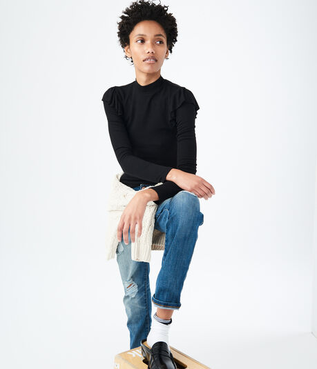 Long Sleeve Ruffled Mock-Neck Top