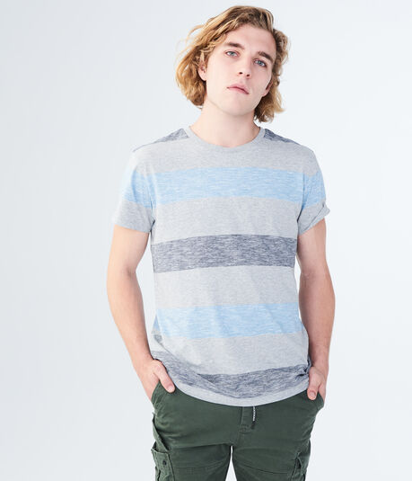 Heathered Stripe Crew Tee