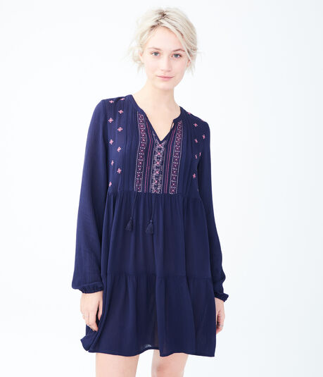 Solid Keyhole Embroidered Peasant Dress