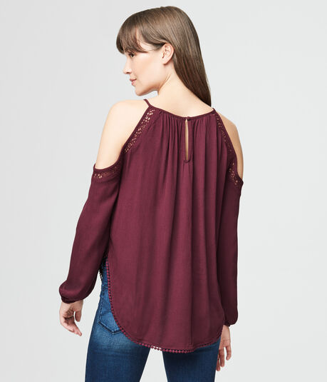 Long Sleeve Crinkled Cold-Shoulder Top
