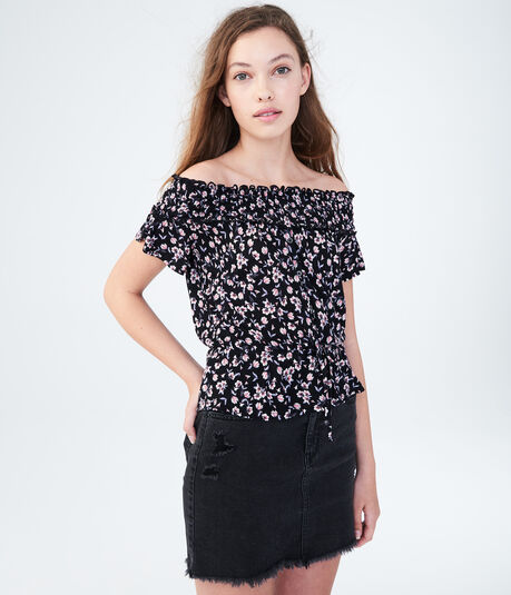Floral Off-The Shoulder Peasant Top
