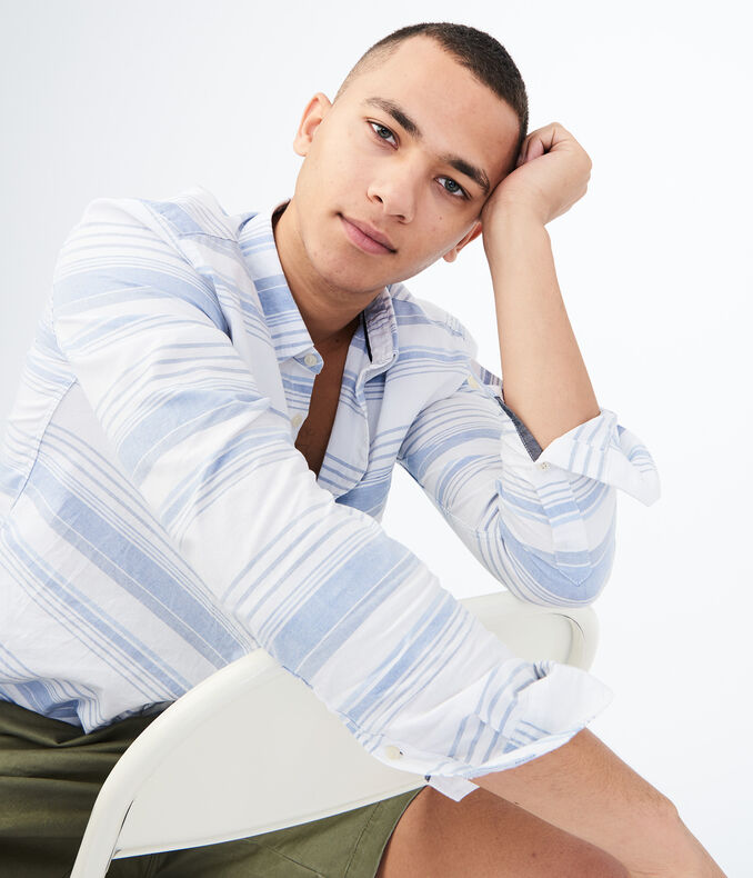 Long Sleeve Horizontal Multistripe Woven Shirt